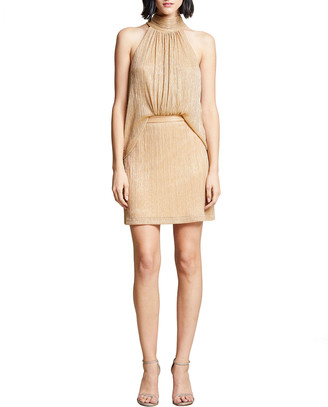 Halston Mock-Neck Draped Metallic Cocktail Dress