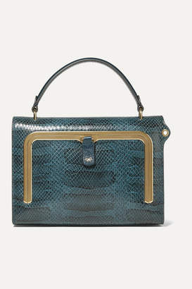 Anya Hindmarch Postbox Small Snake-effect Leather Tote - Storm blue