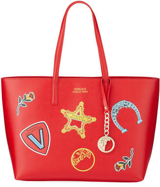 Versace Large Logo Patches Shopper Tote Bag, Red