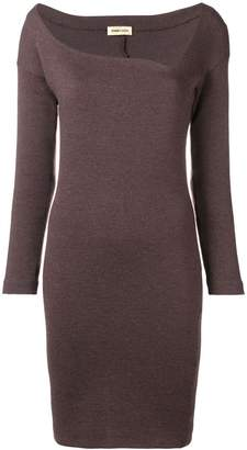Romeo Gigli Pre Owned asymmetric neck fitted dress