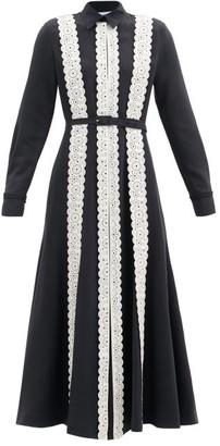 Gabriela Hearst Kari Leather-applique Silk-blend Shirt Dress - Black White
