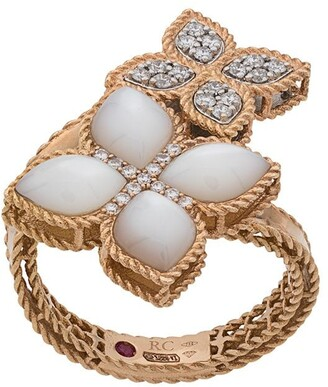 Roberto Coin 18kt gold Princess Flower mother-of-pearl and diamond ring