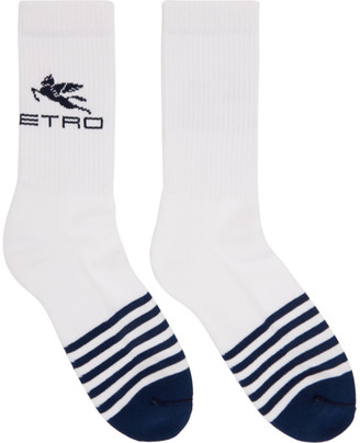 Etro White Striped Pegaso Socks