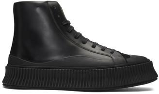 Jil Sander Black Suede Vulcanized High-Top Sneakers