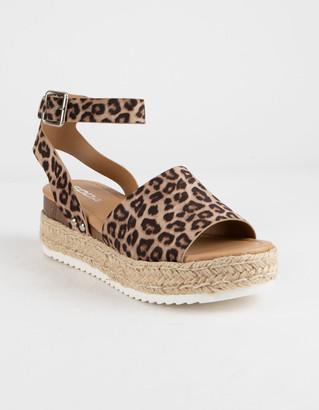 Soda Sunglasses Topic Cheetah Womens Espadrille Flatform Sandals