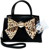 Betsey Johnson Bow You See It Leopard Faux-Haircalf Bow Satchel