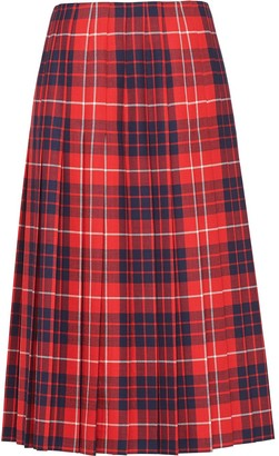 Prada Check-Print Pleated Skirt