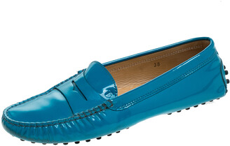 Tod's Blue Patent Leather Penny Slip On Loafers Size 38