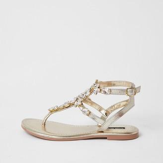 River Island Gold gladiator embellished sandal