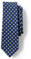 Lands' End Men's Printed Silk Cotton Medallion Neat Necktie-Steeple Gray/Indigo Slate