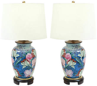 One Kings Lane Vintage Porcelain Table Lamps - Set of 2 - La Maison Supreme