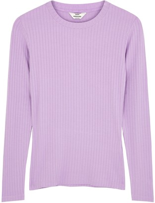Mads Norgaard Tuba lilac ribbed stretch-jersey top