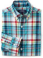 Lands' End Boys Husky Poplin Shirt-Capri Seas Multi Check