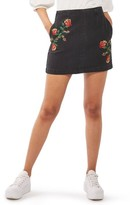 Topshop Women's Moto Embroidered Denim Miniskirt