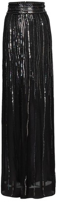 Dundas Sequined silk maxi skirt