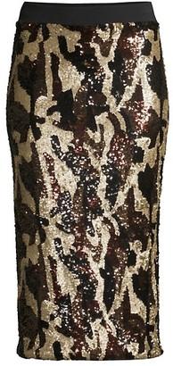 le superbe Liza Sequin Camo Midi Skirt