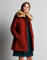 Naf Naf Faux Fur Wool Coat