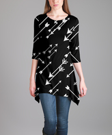 Lily Black & White Arrow Sidetail Tunic - Plus Too