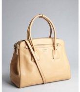 Prada khaki saffiano leather convertible top handle bag