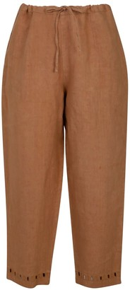 Nologo Chic Garment Washed Linen Cutwork Trouser - Biscuit