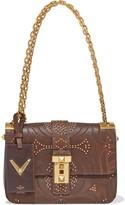 Valentino Garavani Embellished Laser-cut Leather And Canvas Shoulder Bag