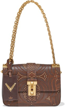 Valentino Embellished Laser-cut Leather And Canvas Shoulder Bag