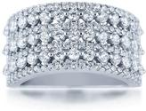 Ice 1 1/2 CT TW White Diamond Polished Sterling Silver Wide 7-Row Anniversary Band