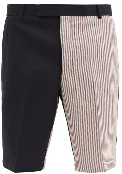 Thom Browne Tricolour Striped-panel Wool-blend Shorts - Navy