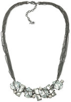 ABS by Allen Schwartz Hematite-Tone Multi-Chain Crystal Collar Necklace