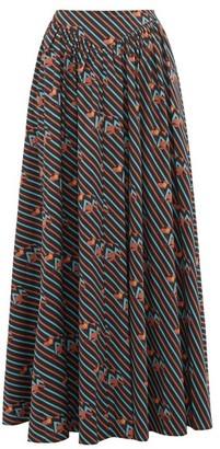 STAUD Anita Electric Frog-print Cotton-blend Maxi Skirt - Black Multi