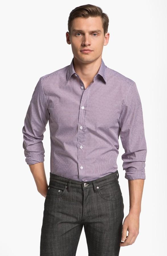 Z Zegna Slim Fit Sport Shirt Dark Pink Large