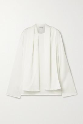TOVE Alexa Tie-detailed Hammered Silk-blend Satin Blouse - Ivory
