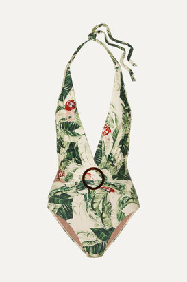 Adriana Degreas + Cult Gaia Ring-embellished Printed Halterneck Swimsuit - Green
