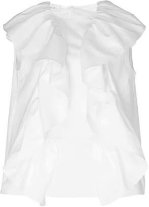 DELPOZO Frill-Detailed Cotton-Poplin Top