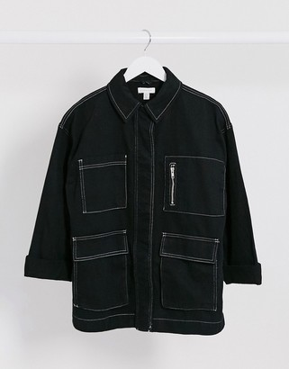Topshop denim shacket in black with contrast stitch