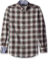 Nautica Men's Long Sleeve Wrinkle Resistant Herringbone Large Plaid Shirt