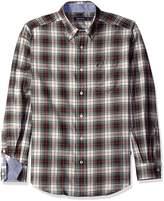 Nautica Men's Long Sleeve Wrinkle Resistant Herringbone Large Plaid Shirt