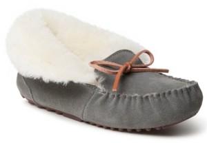 Dearfoams Fireside Women's Brisbane Genuine Moccasin Slipper with Tie, Online Only Women's Shoes