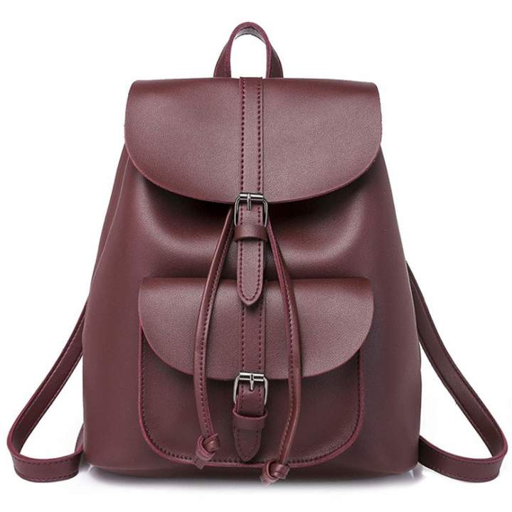 07b61496647f Rullar Women Girls PU Leather Fashion Backpack Drawstring Waterproof  Student Backpacks Travel Hiking School Shoulder Bag Casual Daypack Rucksack  Purse