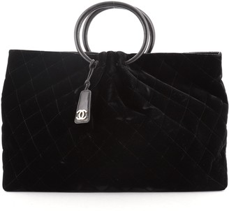 Chanel Ring Handle Tote Quilted Velvet Large