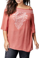 Dex Plus Off-the-Shoulder Embroidered Top