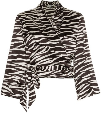 Ganni Blakely Zebra Print Silk Wrap Top