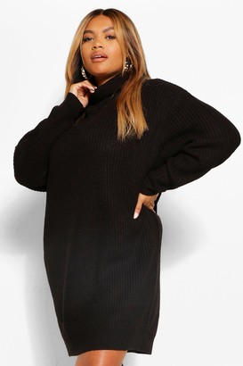 boohoo Plus Roll Neck Sweater Dress