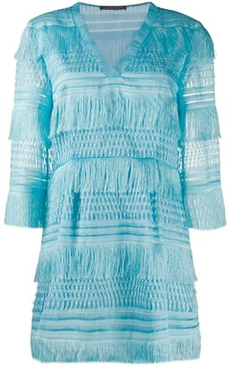 Alberta Ferretti Fringed Short Dress