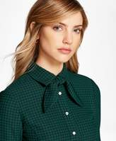 Brooks Brothers Houndstooth Crepe Blouse