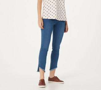 Belle By Kim Gravel TripleLuxe Denim Fringed Hem Ankle Jeans