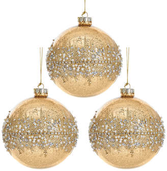 Kurt Adler Set Of 3 Gold Glittered Ornaments