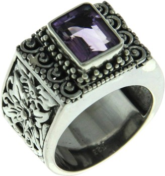 Novica Artisan Crafted Sterling Amethyst Cocktail Ring