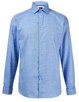 Burton Burton Blue Slim Fit Twill Cotton Shirt