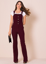 Missy Empire Lorelei Wine Ribbed Flared Dungarees